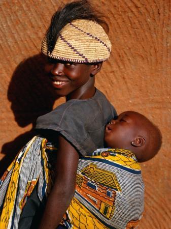 Betamaribe (Somba) Girl with Baby Brother Sleeping on Her Back, Tagaye, Benin