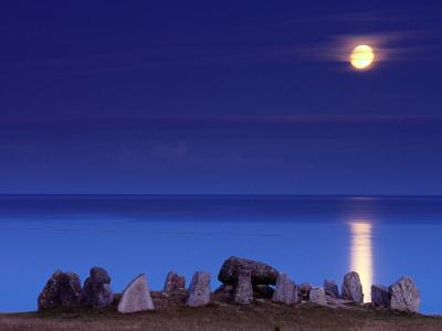 Full Moon and 5000-Year-Old Stone Age Grave, Havangsdosen, Havang, Sweden