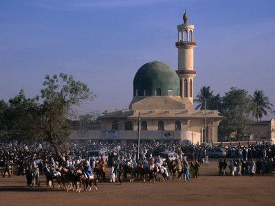 Crowds Gather in Front of Kano Mosque During Celebrations for Durbar Festival, Kano, Nigeria