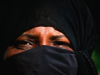 Portrait of a Muslim Woman in Traditional Bui-Bui, Lamu, Coast, Kenya