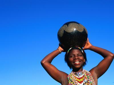 Zulu Woman Carrying Beer Pot, Zululand, South Africa