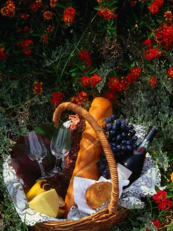Picnic Basket (Wine, Bread & Cheese) in Bed of Flowers, Western Australia, Australia