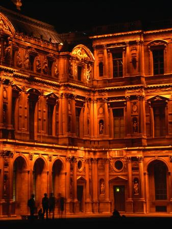 Louvre Museum Facade Illuminated Night, Paris, France