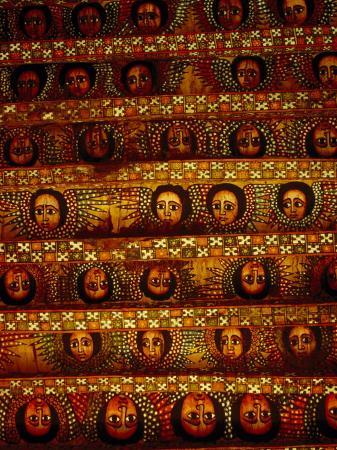 Pattern of Painted Faces on Ceiling of Debre Birhan Selassie Church, Gondar, Ethiopia