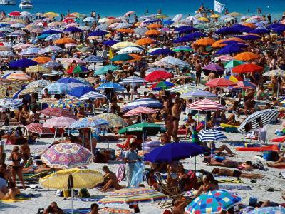 Many Umbrellas at Spiaggia Di Pelosa, Stintino, Sardinia, Italy