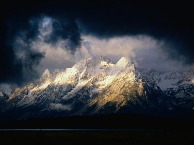 Storm Clouds Over Snow-Capped Mountain, Grand Teton National Park, USA
