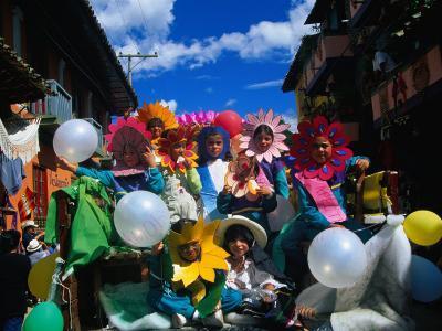 Children in Costume on Village Patron Saint's Day, Raquira, Boyaca, Colombia