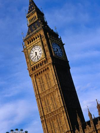 Exterior of Big Ben with Part of London Eye, London, United Kingdom