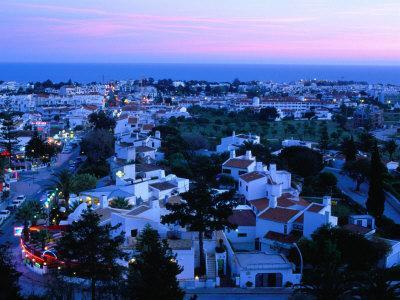 View Over the Town at Dusk, Albufeira, Algarve, Portugal,