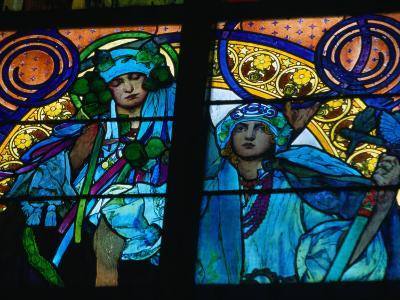 Stained-Glass Windows with Art Nouveau Mucha Designs in St. Vitus Cathedral, Prague, Czech Republic