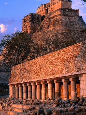 Pyramid of Magician (Piramide Del Adivino) on Mayan Site, Uxmal, Mexico