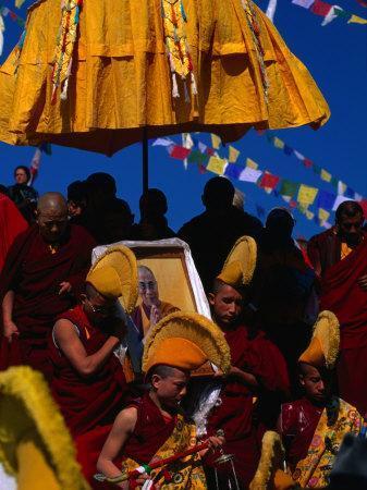 Tibetan Lamas Carrying Photo of Dalai Lama During Tibetan New Years Festival, Nepal