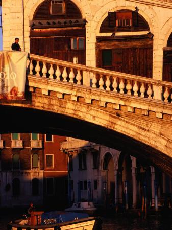 Detail of Ponte Di Rialto and Buildings along Grand Canal, Venice, Italy
