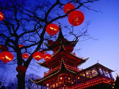 Chinese Pagoda and Tree Lanterns in Tivoli Park, Copenhagen, Denmark