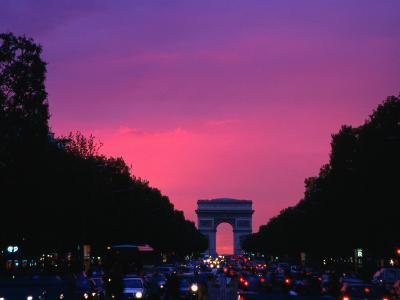 Traffic on the Champs-Elysees and the Arc De Triomphe After Sunset, Paris, Ile-De-France, France