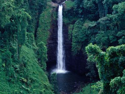 Sopo'Aga Falls Dropping 50M into Gorge, Upolu, Samoa, Upolu