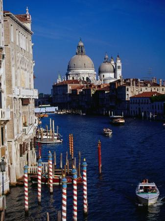 Grand Canal and Domes of Chiesa Di Santa Maria Della Salute in Distance, Venice, Italy