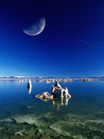 Moon Over Tufa Formations, Mono Lake Tufa State Reserve, Mono Lake, U.S.A.
