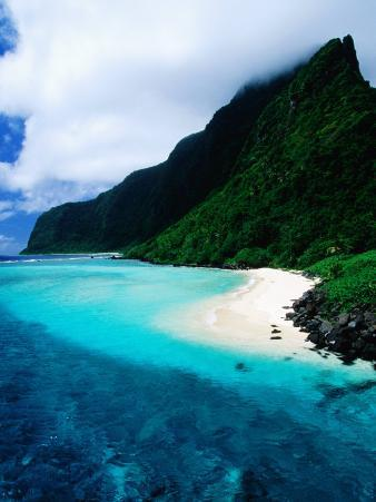 Forested Hills, Beach and Lagoon, American Samoa