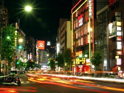 Moving Lights on Street of Roppongi at Night, Tokyo, Japan