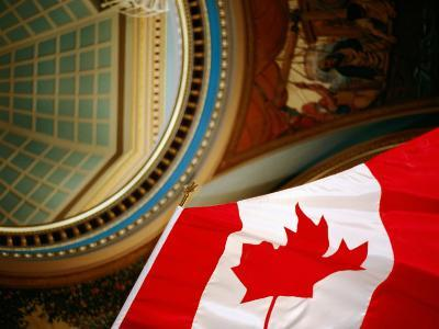 Interior of Parliament House with Canadian Flag in Foreground, Victoria, Canada