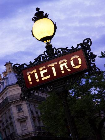 Classic Art Nouveau Metro Sign at Odeon Metro Station, Paris, France