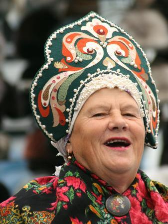 Portrait of Singer in Traditional Costume at Vernisazh Market, Moscow, Russia