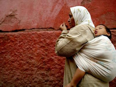 Mother and Child in the Narrow Alleys of the Kasbah, Marrakesh, Morocco