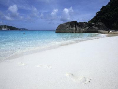 Footprints in Sand at Ko Similan Beach, Similan Islands National Marine Park, Thailand