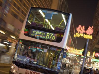 Double-Decker Bus on Nathan Road, Tsim Sha Tsui, Kowloon, China