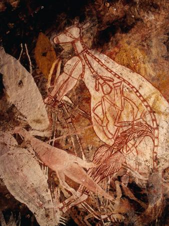 Aboriginal Rock Art Painting of a White Kangaroo at Karbenadjarlnglawe, Kudjekbinj, Australia