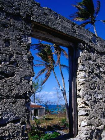 The View from an Abandoned Old Settlement Building by the Shore, Cat Island, Bahamas
