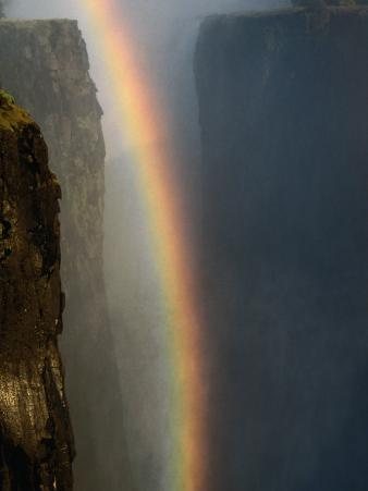 Rainbow Over Cliffs, Victoria Falls, Zambia