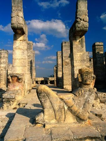 Chac Mool with Serpent Columns, Portico of Temple of the Warriors, Chichen Itza, Yucatan, Mexico