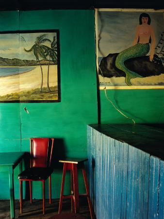 Interior of Bar with Mermaid Mural, Tela, Honduras