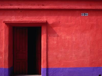 Painted Stucco House Facade, Momostenango, Totonicapan, Guatemala