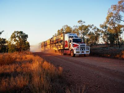 Roadtrain Hurtles Through Outback, Cape York Peninsula, Queensland, Australia