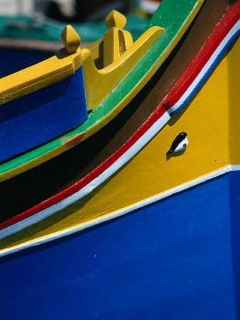 "Colourful ""Luzzu"" Fishing Boat with Eye of Protection, Marsaxlokk, Malta"