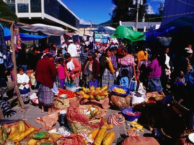 Crowds Shopping on Market Day, Totonicapan, Guatemala