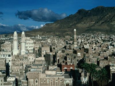 Buildings of Town with Mountain Behind, San'a, Yemen