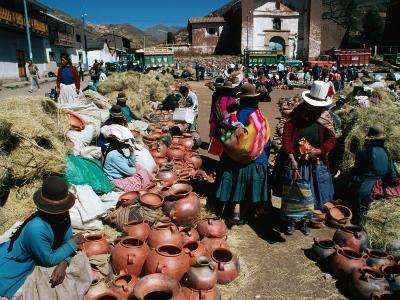 Traders Selling Hand Crafted Pottery at Market in San Pedro Village, Cuzco, Peru
