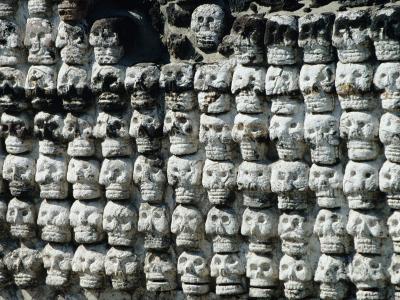 Wall of Skulls in Templo Mayor, Zocalo District, Mexico City, Mexico