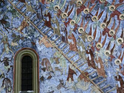 "Detail of Fresco ""Ladder of St. John"" on Northern Wall of Sucevita Monastery, Sucevita, Romania,"
