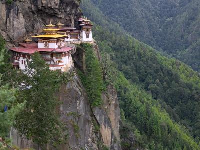 Taktsang (Tiger's Nest) Dzong Perched on Edge of Steep Cliff, Paro Valley, Bhutan