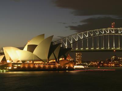 Sydney Opera House and Harbor Bridge at Night, Sydney, Australia