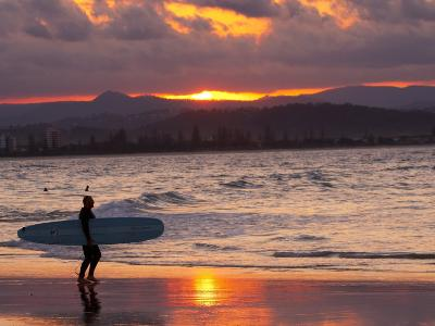 Surfer at Sunset, Gold Coast, Queensland, Australia