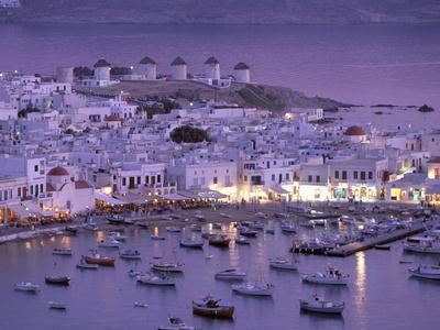 Overview of Mykonos Town harbor, Mykonos, Cyclades Islands, Greece