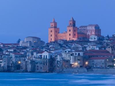 View with Duomo from Beach, Cefalu, Sicily, Italy
