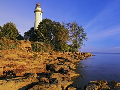 Pointe Aux Barques Lighthouse at Sunrise on Lake Huron, Michigan, USA