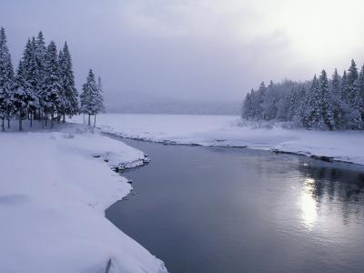 Snow on the Shores of Second Connecticut Lake, Northern Forest, New Hampshire, USA